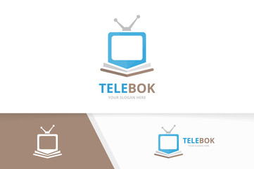 Vector book and tv logo combination. Television and market symbol or icon. Unique bookstore, library and media logotype design template.
