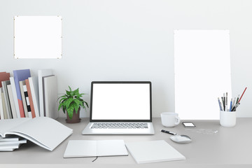 Blank screen laptop Mock up in home workpark with coffee cup and book in home work. , 3D render