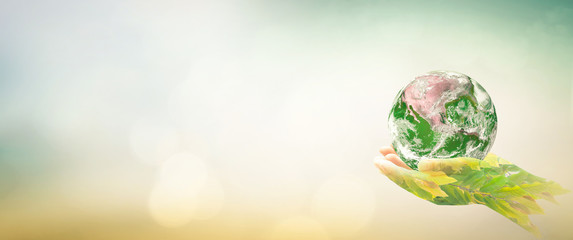 World environment day concept: Double exposure hands of tree and earth global on blurred nature background. Elements of this image furnished by NASA