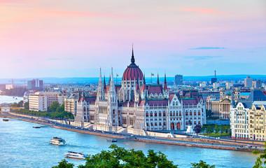 Aluminium Prints Budapest Panorama with building of Hungarian parliament at Danube river
