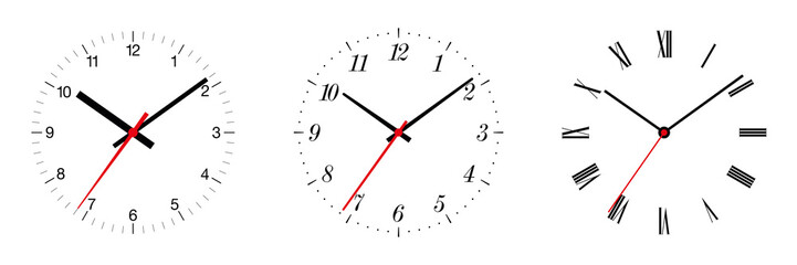 Three different clock faces over white, with regular, italic and fraktur numerals. Part of an analog clock, or watch. Displays the time through the use of a dial and moving hands. Illustration. Vector