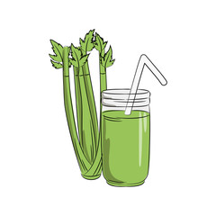 vector green color celery vegetable smoothy juice in jar on white, healthy vegetarian menu