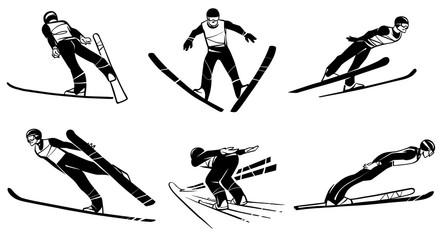 Set of athletes skiers in flight. Ski jumping. Hand drawn illustration