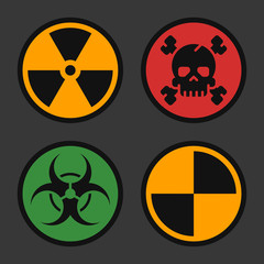 Radiation Biohazard Death Quarantine. Set Signs. Danger Objects