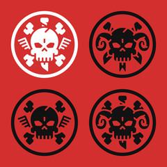 Tattoo Concept. Skull Bone Knife Horn. Set Signs. Danger Objects