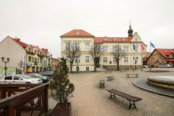 WALCZ, POLAND - the town hall at the main square.