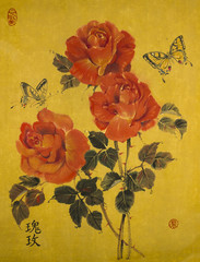 """Three red roses and butterflies are painted in watercolor on yellow Chinese paper. Hieroglyphs mean """"rose,"""" a round seal means """"happiness,"""" an oval seal means """"draw from the heart"""""""
