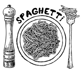 Sketch Hand drawn Spaghetti pasta , top view. Engraved ink doodle of italian cuisine.