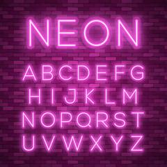 Realistic neon alphabet. Bright neon glowing font