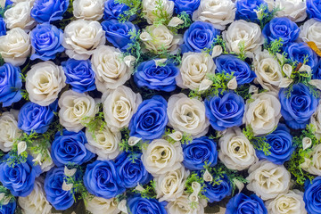 artificial blue and white roses
