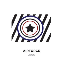 Airforce logo, Military armed forces badges and labels vector icon with black styled star with red & black lines
