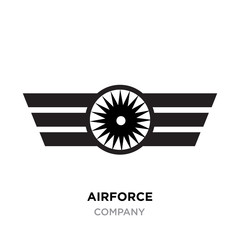Airforce logo, Military armed forces badges and labels vector icon with black styled star