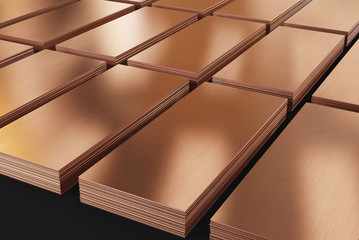 Copper sheets. Piles of copper metal in stock. 3d illustration.