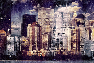 skyline oil painting, skyline canvas painting, oil art painting, wall art painting, skyline art, building painting, canvas painting, artistic canvas, artistic painting for home and office