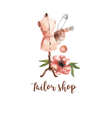 Sewing logo. Mannequin, centimeter, button, pin and pink flower. Watercolor illustration on white isolated background