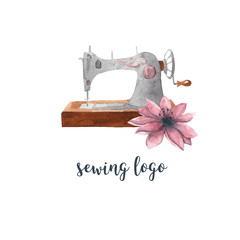Sewing logo. Vintage sewing machine and pink flower. Watercolor illustration on white isolated background