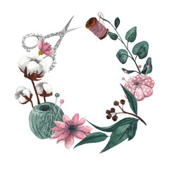 Wreath with sewing items and floral elements. Watercolor illustration on white isolated background. Floral frame for text. Cotton flowers, eucalyptus leaves