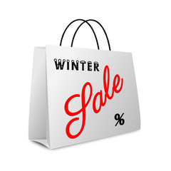 Shopping bag winter sale text - isolated on white background