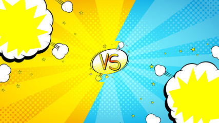 Versus letters fight banner. Vector illustration with speech bubbles. Decorative yellow and blue banner with bomb explosive in pop art style.