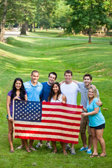 Diverse Group of American Friends