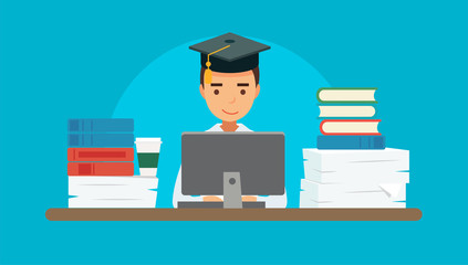 Studying - vector illustration with young student with a computer, many books and papers. Square academic cap. Education concept illustration