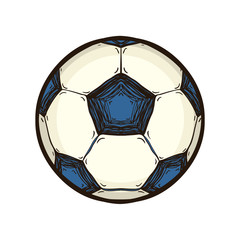 Soccer ball isolated. Hand drawn sport equipment