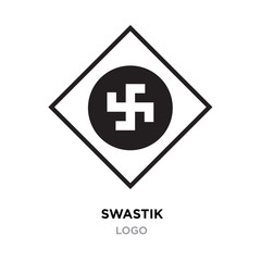 Black swastik logo,Hinduism religion sign, Indian swastika symbol isolated on white background