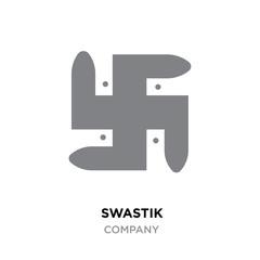 Grey swastik logo,Hinduism religion sign, Indian swastika symbol isolated on white background