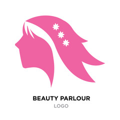 beauty parlour logo for company, pink fashion icon vector, red woman icon