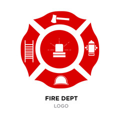 fire dept logo, red Helmet, Axe Vector Illustration