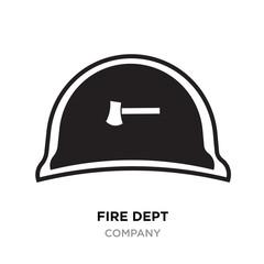 fire dept logo, black Helmet Vector Illustration isolated on white background