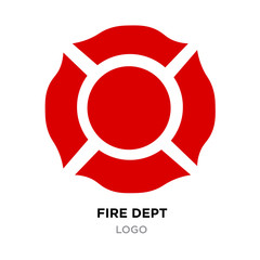 red fire dept logo with white arrows isolated on white background
