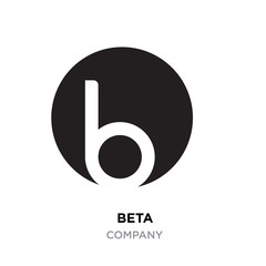 beta logo,abstract white flat vector sign B in modern style roundy black background