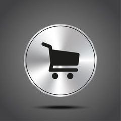 vector icon shopping cart metallic isolated on dark background