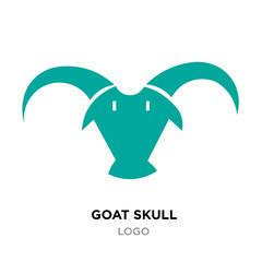 goat skull logo, green animal head icon isolated on white background