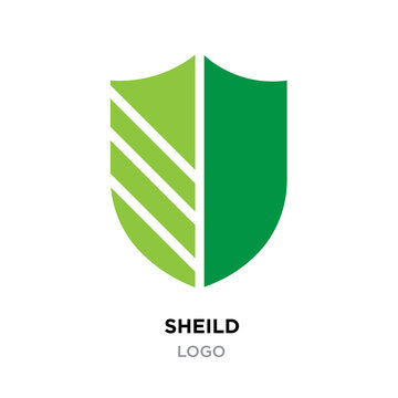 sheild logo,flat green thin line modern cutted icon isolated on white background