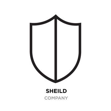 sheild logo, thin line modern icon isolated on white background