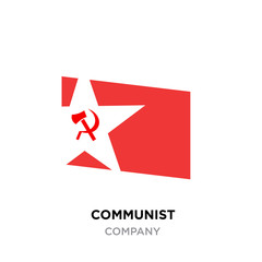 communist logo,USSR communism icon with red hammer and sickle. socialism symbol inside white star