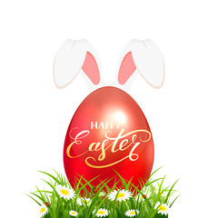 Easter egg in grass with rabbit ears on white background