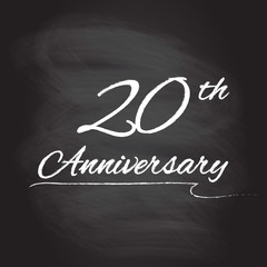 20th anniversary emblem hand drawn by chalk. 20 years celebration isolated on blackboard background. Vector illustration.