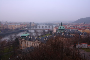Printed roller blinds Eastern Europe Evening Prague panorama. Czech. Cityscape.