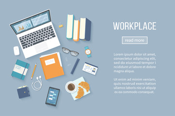 Workplace Desktop background. Top view of table, laptop, books, folder with documents, notepad, badge, purse, headphones, glasses, phone with messages, pencil, coffee with croissants. Vector