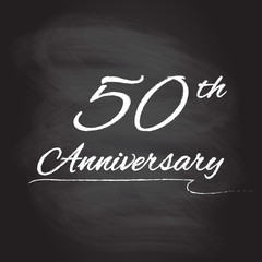 50th anniversary emblem hand drawn by chalk. 50 years celebration isolated on blackboard background. Vector illustration.