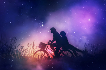 Romantic couple in love with their bicycle.