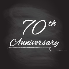 70th anniversary emblem hand drawn by chalk. 70 years celebration isolated on blackboard background. Vector illustration.