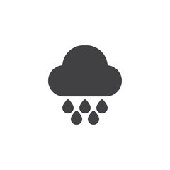 Rain drops and cloud vector icon. filled flat sign for mobile concept and web design. Rainy weather simple solid icon. Symbol, logo illustration. Pixel perfect vector graphics