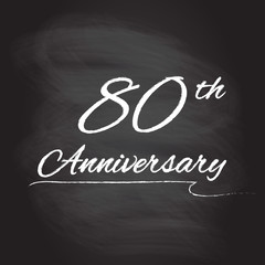 80th anniversary emblem hand drawn by chalk. 80 years celebration isolated on blackboard background. Vector illustration.