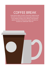 Coffee Break Poster and Text Vector Illustration