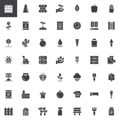 Gardening and farming vector icons set, Symbol collection, filled pictogram pack. Signs, logo illustration. Set includes icons as rake, shovel, greenhouse, sprout, seeds, garden, can plant soil