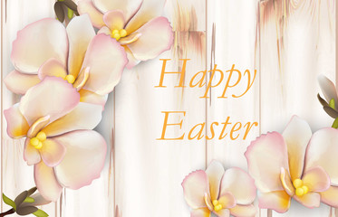 Happy Easter card with delicate orchid flowers Vector realistic